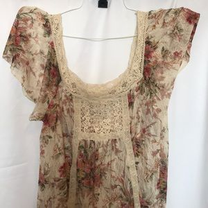 Tan and flower top.